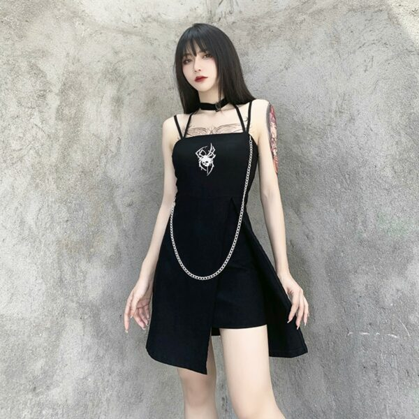 Deathly Spider Dark Core Chain Dress 2- Orezoria Aesthetic Outfits Shop - Aesthetic Clothing - eGirl Outfits - Soft Girl Outfits