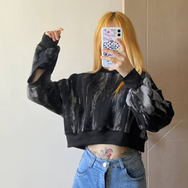 Deathwish Tie Dye Cropped Sweatshirt.1- Orezoria Aesthetic Outfits Shop - Aesthetic Clothing - eGirl Outfits - Soft Girl Outfits