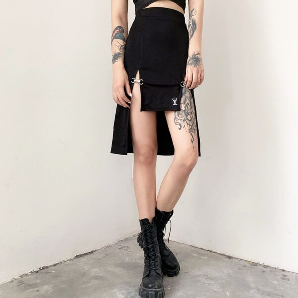 Deer Fashion Knee Long Double Strap Skirt 1- Orezoria Aesthetic Outfits Shop - Aesthetic Clothing - eGirl Outfits - Soft Girl Outfits