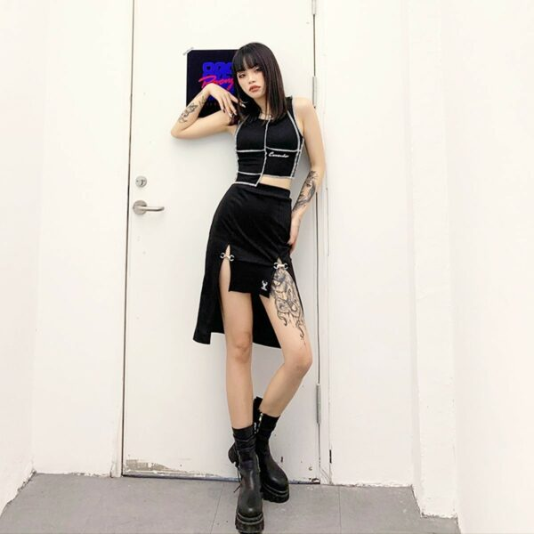 Deer Fashion Knee Long Double Strap Skirt 4- Orezoria Aesthetic Outfits Shop - Aesthetic Clothing - eGirl Outfits - Soft Girl Outfits