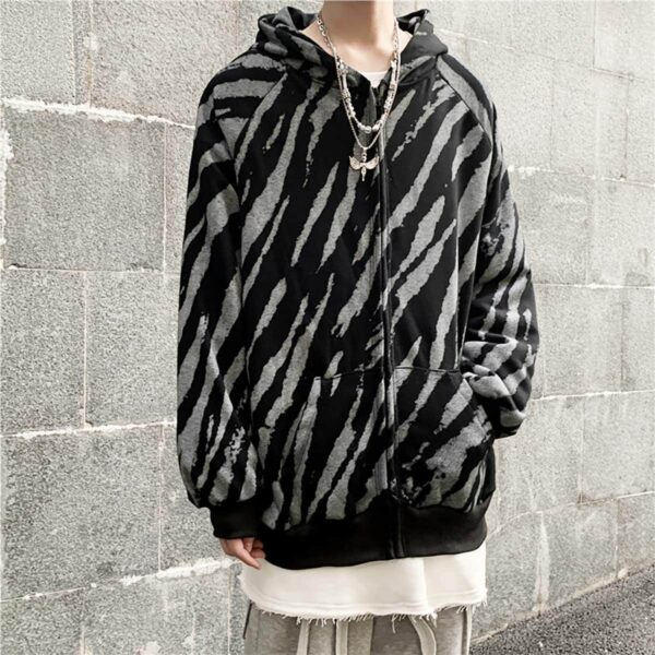 Diagonal Zebra Pattern Dark Hoodie 1- Orezoria Aesthetic Outfits Shop - Aesthetic Clothing - eGirl Outfits - Soft Girl Outfits