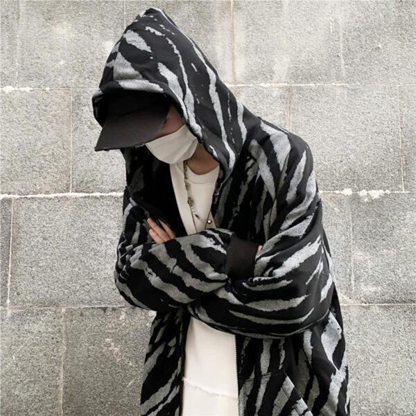 Diagonal Zebra Pattern Dark Hoodie 2- Orezoria Aesthetic Outfits Shop - Aesthetic Clothing - eGirl Outfits - Soft Girl Outfits