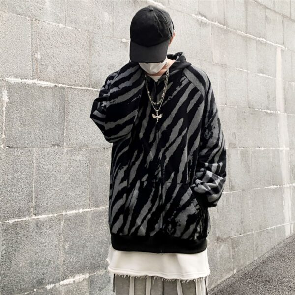 Diagonal Zebra Pattern Dark Hoodie 3- Orezoria Aesthetic Outfits Shop - Aesthetic Clothing - eGirl Outfits - Soft Girl Outfits