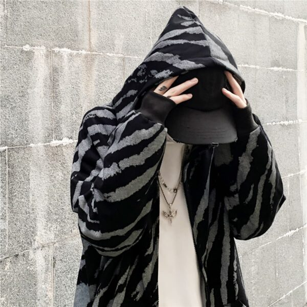 Diagonal Zebra Pattern Dark Hoodie 4- Orezoria Aesthetic Outfits Shop - Aesthetic Clothing - eGirl Outfits - Soft Girl Outfits