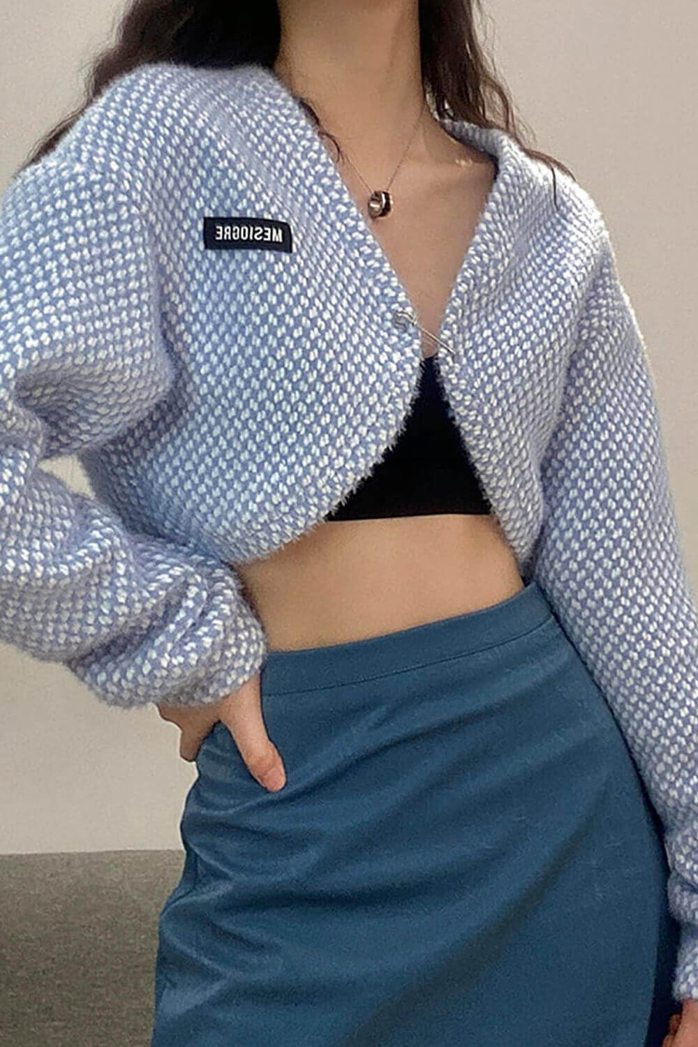 Diamond Plaid Knitted Cropped Cardigan