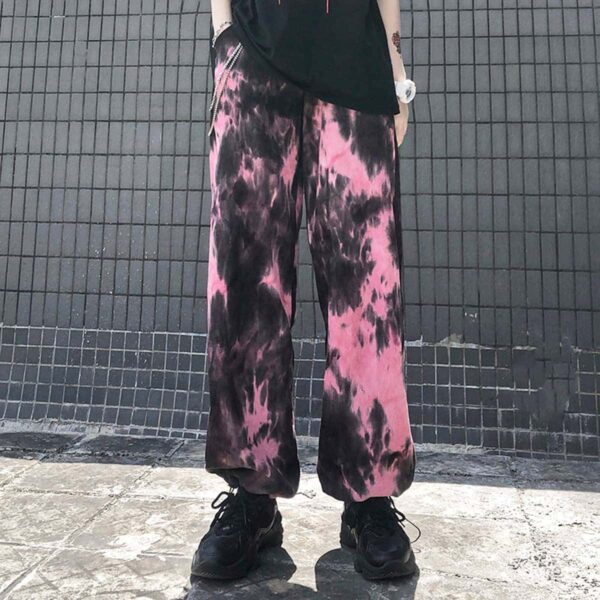 Dirty Pink Aesthetic Tie Dye Loose Pants 1- Orezoria Aesthetic Outfits Shop - Aesthetic Clothing - eGirl Outfits - Soft Girl Outfits