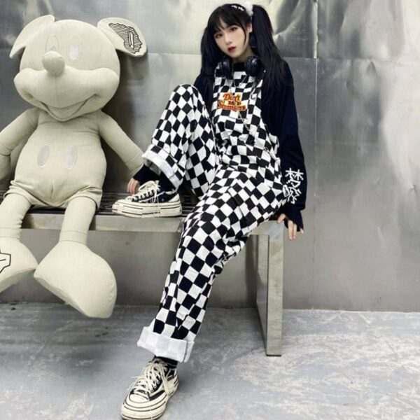 Don't Talk To Strangers Checkered Overall 2 - Orezoria Aesthetic Outfits Shop - Aesthetic Clothing - eGirl Outfits - Soft Girl Outfits.psd