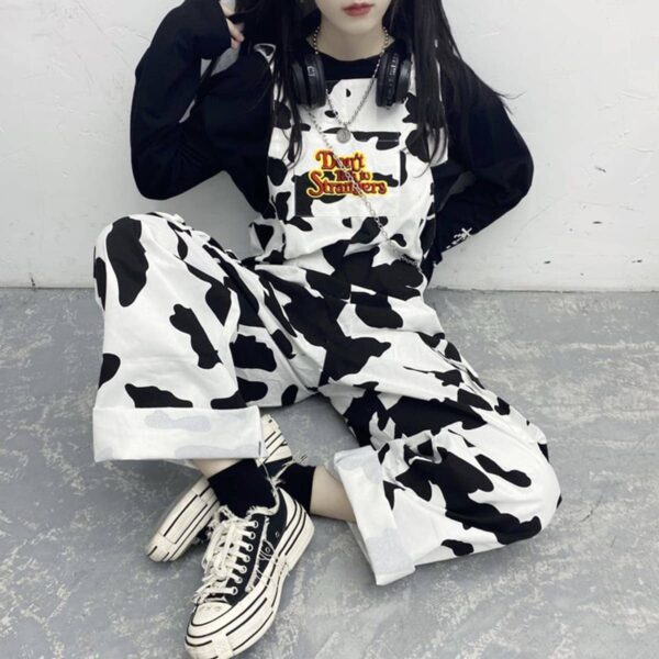 Don't Talk To Strangers Cow Pattern Overall 2 - Orezoria Aesthetic Outfits Shop - Aesthetic Clothing - eGirl Outfits - Soft Girl Outfits.psd