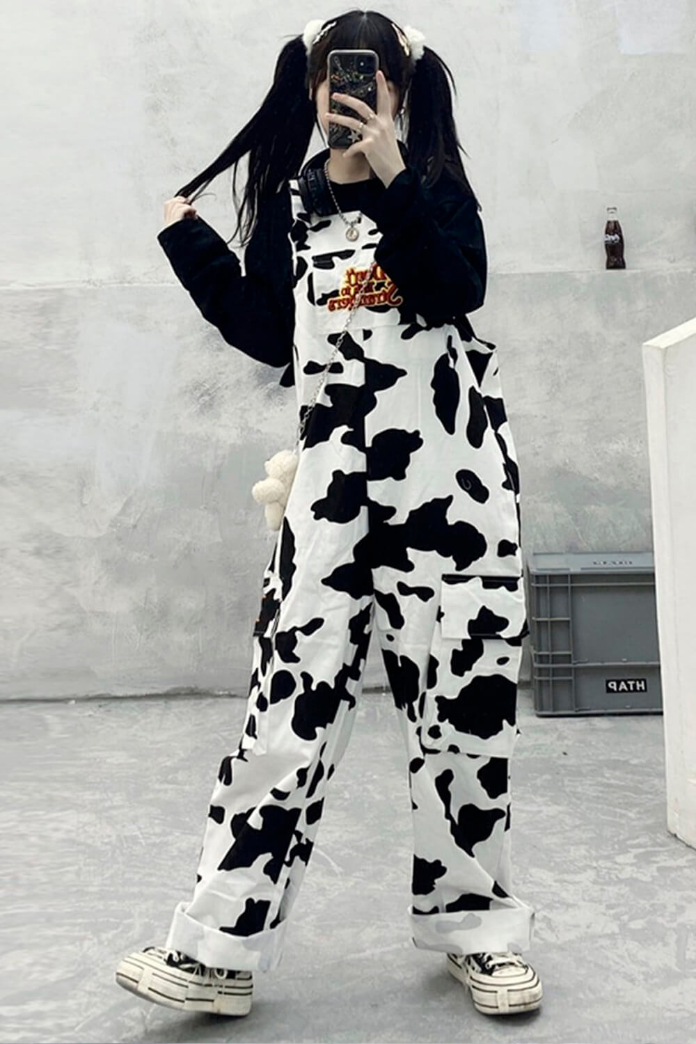 Don't Talk To Strangers Cow Pattern Overall