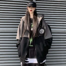 Double Color Oversized Korean Hoodie 1- Orezoria Aesthetic Outfits Shop - Aesthetic Clothing - eGirl Outfits - Soft Girl Outfits