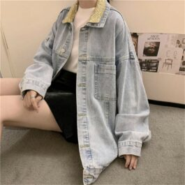 Double Color Vintage Denim Jacket.1- Orezoria Aesthetic Outfits Shop - Aesthetic Clothing - eGirl Outfits - Soft Girl Outfits