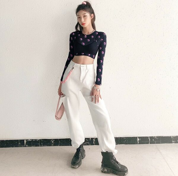 Double Moon Shades Long Sleeve Crop Top 2- Orezoria Aesthetic Outfits Shop - Aesthetic Clothing - eGirl Outfits - Soft Girl Outfits