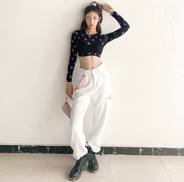 Double Moon Shades Long Sleeve Crop Top 4- Orezoria Aesthetic Outfits Shop - Aesthetic Clothing - eGirl Outfits - Soft Girl Outfits