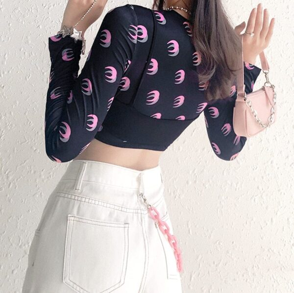 Double Moon Shades Long Sleeve Crop Top 5- Orezoria Aesthetic Outfits Shop - Aesthetic Clothing - eGirl Outfits - Soft Girl Outfits