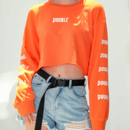 Double Sleeve Print Orange Crop Top - Orezoria Aesthetic Outfits Shop - Aesthetic Clothing - eGirl Outfits - Soft Girl Outfits.psd