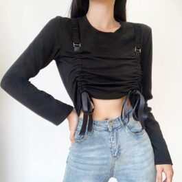Double Suspenders Black Long Sleeve 1- Orezoria Aesthetic Outfits Shop - Aesthetic Clothing - eGirl Outfits - Soft Girl Outfits