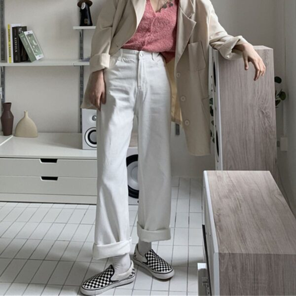 Drape Casual Straight High Waist Pants.1- Orezoria Aesthetic Outfits Shop - Aesthetic Clothing - eGirl Outfits - Soft Girl Outfits