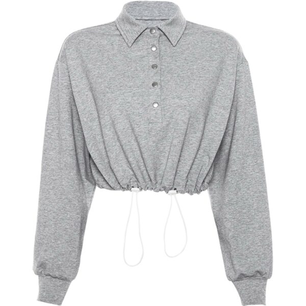 Drawstring Cropped Polo Sweatshirt 4- Orezoria Aesthetic Outfits Shop - Aesthetic Clothing - eGirl Outfits - Soft Girl Outfits