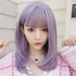 Dream Lilac Straight Bang Soft Girl Wig (1)- Orezoria Aesthetic Outfits Shop - Aesthetic Clothing - eGirl Outfits - Soft Girl Outfits
