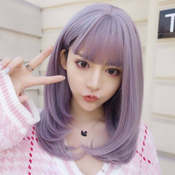 Dream Lilac Straight Bang Soft Girl Wig (2)- Orezoria Aesthetic Outfits Shop - Aesthetic Clothing - eGirl Outfits - Soft Girl Outfits