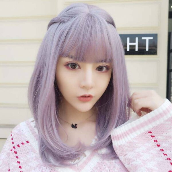 Dream Lilac Straight Bang Soft Girl Wig (3)- Orezoria Aesthetic Outfits Shop - Aesthetic Clothing - eGirl Outfits - Soft Girl Outfits