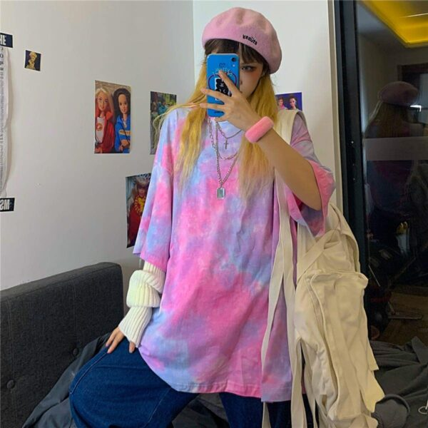 Dreamy Tie Dye Soft Girl Tee 3- Orezoria Aesthetic Outfits Shop - Aesthetic Clothing - eGirl Outfits - Soft Girl Outfits