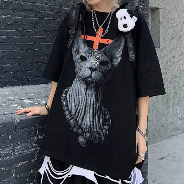 Eyeless Sphynx Cat Harajuku T-Shirt 1 - Orezoria Aesthetic Outfits Shop - Aesthetic Clothing - eGirl Outfits - Soft Girl Outfits