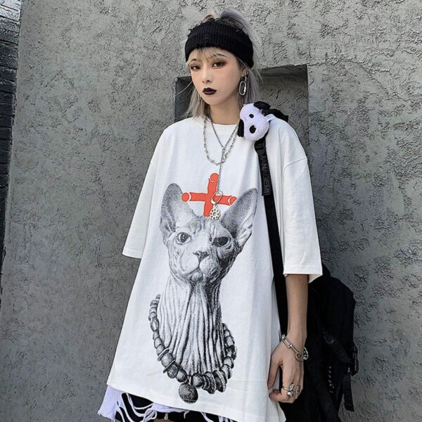 Eyeless Sphynx Cat Harajuku T-Shirt 2 - Orezoria Aesthetic Outfits Shop - Aesthetic Clothing - eGirl Outfits - Soft Girl Outfits