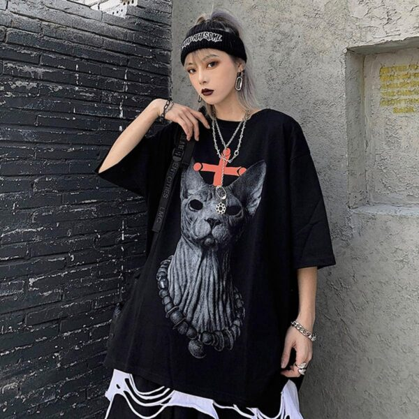 Eyeless Sphynx Cat Harajuku T-Shirt 3 - Orezoria Aesthetic Outfits Shop - Aesthetic Clothing - eGirl Outfits - Soft Girl Outfits