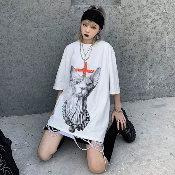 Eyeless Sphynx Cat Harajuku T-Shirt 4 - Orezoria Aesthetic Outfits Shop - Aesthetic Clothing - eGirl Outfits - Soft Girl Outfits