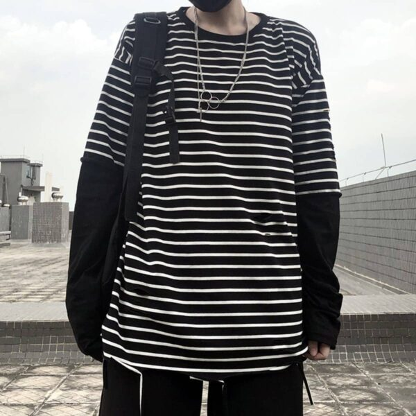 Fake Sleeve Loose Striped Tee 3- Orezoria Aesthetic Outfits Shop - Aesthetic Clothing - eGirl Outfits - Soft Girl Outfits