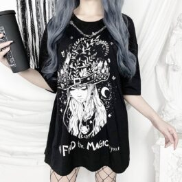 Find the Magic in You Black Soft Goth T-Shirt 2- Orezoria Aesthetic Outfits Shop - Aesthetic Clothing - eGirl Outfits - Soft Girl Outfits