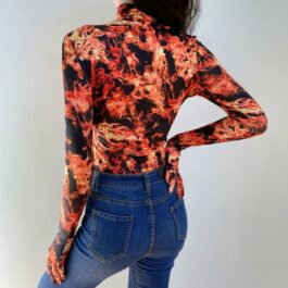 Fire Aesthetic Flames Glove Sleeve Bodysuit - Orezoria Aesthetic Outfits Shop - Aesthetic Clothing - eGirl Outfits - Soft Girl Outfits.psd