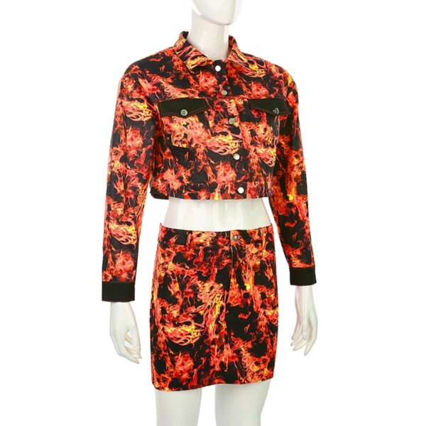 Fire Flame Aesthetic Jacket and Skirt Set (2)- Orezoria Aesthetic Outfits Shop - Aesthetic Clothing - eGirl Outfits - Soft Girl Outfits