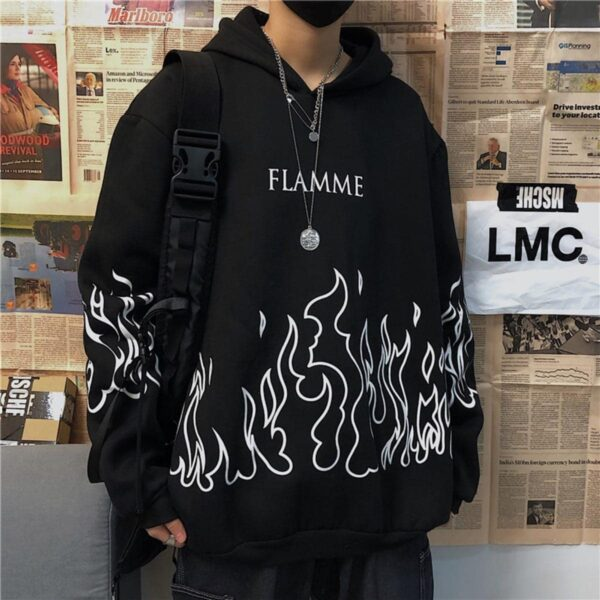 Flame Korean Ulzzang Oversized Hoodie - Orezoria Aesthetic Outfits Shop - Aesthetic Clothing - eGirl Outfits - Soft Girl Outfits.psd