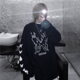 Flaming Butterfly Black Korean Long Sleeve.1- Orezoria Aesthetic Outfits Shop - Aesthetic Clothing - eGirl Outfits - Soft Girl Outfits