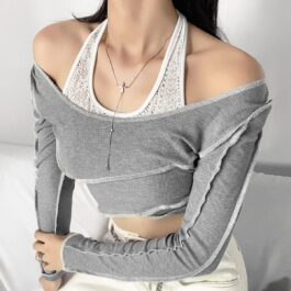 Floral Halter Neck Two Piece Crop Top 2 - Orezoria Aesthetic Outfits Shop - Aesthetic Clothing - eGirl Outfits - Soft Girl Outfits