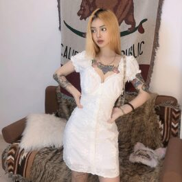 Floral Laced White Aesthetic Short Dress - Orezoria Aesthetic Outfits Shop - Aesthetic Clothing - eGirl Outfits - Soft Girl