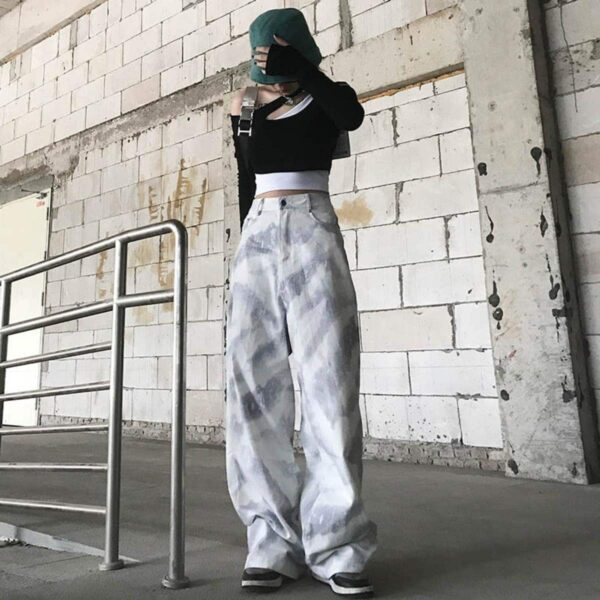 Folded Snow Tie Dye Wide Ulzzang Pants - Orezoria Aesthetic Outfits Shop - Aesthetic Clothing - eGirl Outfits - Soft Girl Outfits.psd