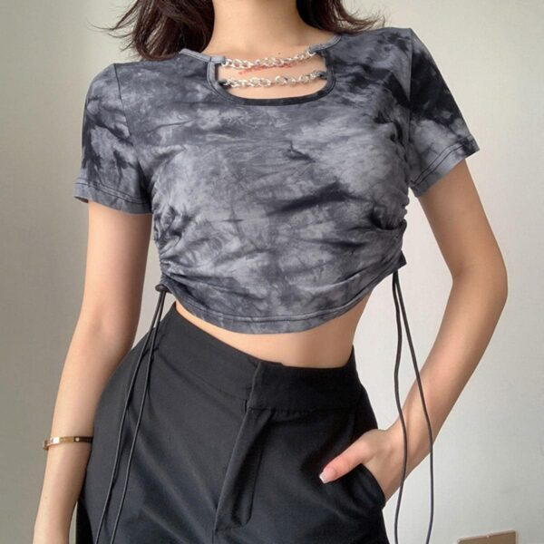 Front ChainsTie Dye Aesthetic Crop Top - Orezoria Aesthetic Outfits Shop - Aesthetic Clothing - eGirl Outfits - Soft Girl Outfits.psd