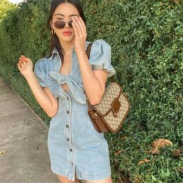 Front Knot Tie Denim Short Dress.1- Orezoria Aesthetic Outfits Shop - Aesthetic Clothing - eGirl Outfits - Soft Girl Outfits