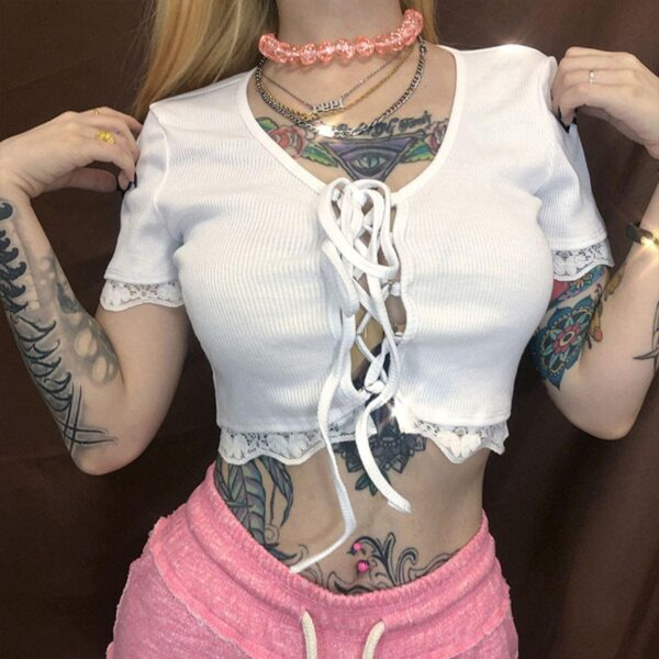 Front Lace Knot Ruffle White Crop Top.1- Orezoria Aesthetic Outfits Shop - Aesthetic Clothing - eGirl Outfits - Soft Girl Outfits