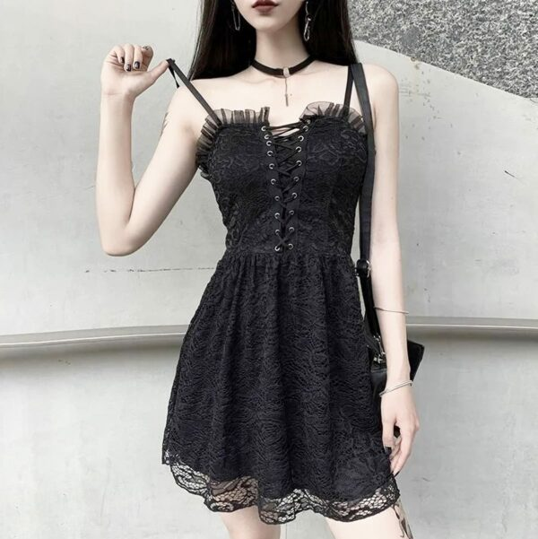 Front Laced Dark Core Short Goth Dress 2- Orezoria Aesthetic Outfits Shop - Aesthetic Clothing - eGirl Outfits - Soft Girl Outfits