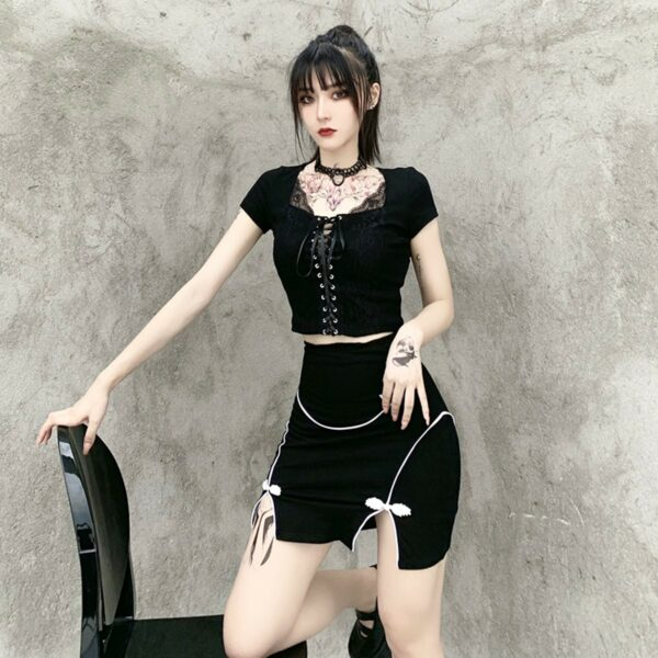 Front Ribbon Laced Gothic Aesthetic Top 2- Orezoria Aesthetic Outfits Shop - Aesthetic Clothing - eGirl Outfits - Soft Girl Outfits