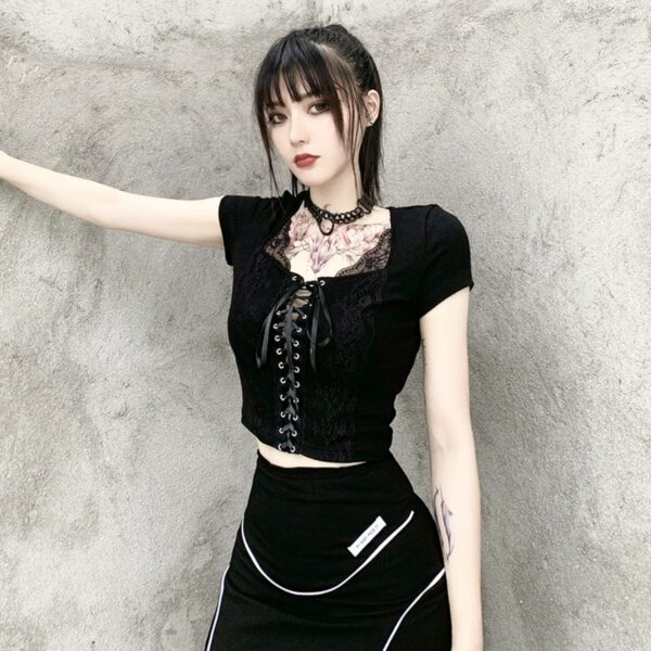 Front Ribbon Laced Gothic Aesthetic Top 4- Orezoria Aesthetic Outfits Shop - Aesthetic Clothing - eGirl Outfits - Soft Girl Outfits