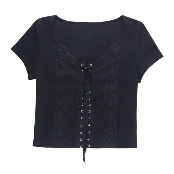 Front Ribbon Laced Gothic Aesthetic Top 5- Orezoria Aesthetic Outfits Shop - Aesthetic Clothing - eGirl Outfits - Soft Girl Outfits