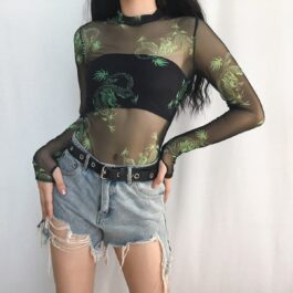 Gaze Dragon Aesthetic Mesh Bodysuit - Orezoria Aesthetic Outfits Shop - Aesthetic Clothing - eGirl Outfits - Soft Girl Outfits.psd