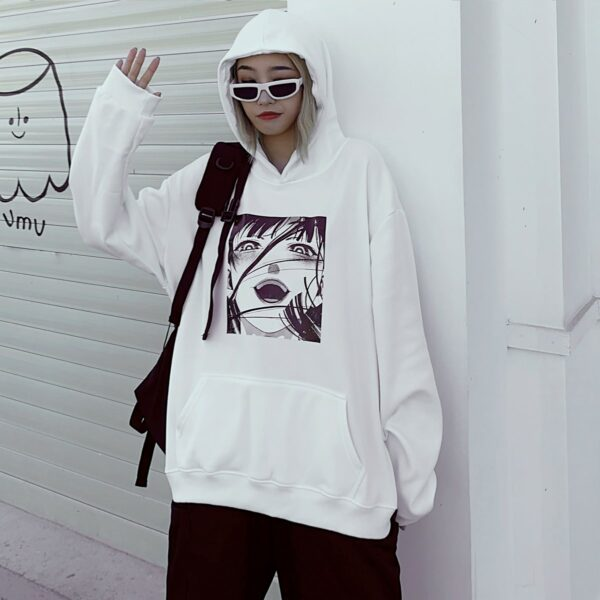 Gloat Laugh Сolorless Anime GIrl Sweatshirt 1 - Orezoria Aesthetic Outfits Shop - Aesthetic Clothing - eGirl Outfits - Soft Girl Outfits