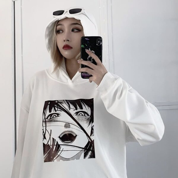 Gloat Laugh Сolorless Anime GIrl Sweatshirt 2 - Orezoria Aesthetic Outfits Shop - Aesthetic Clothing - eGirl Outfits - Soft Girl Outfits