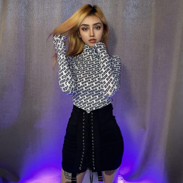 Glove Sleeve Disco High Neck White Top.1- Orezoria Aesthetic Outfits Shop - Aesthetic Clothing - eGirl Outfits - Soft Girl Outfits